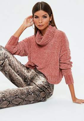 Missguided Rose Chenille Cropped Sweater