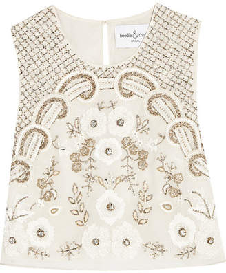 Needle & Thread - Embellished Chiffon Top - Ivory $307 thestylecure.com
