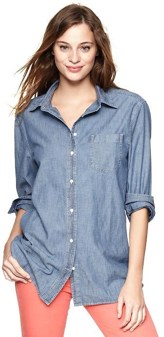 Chambray boyfriend pocket shirt