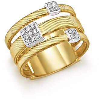 Marco Bicego 18K White and Yellow Gold Masai Three Row Pavé Diamond Ring