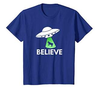 Believe Alien T Shirt UFO picking up Cow