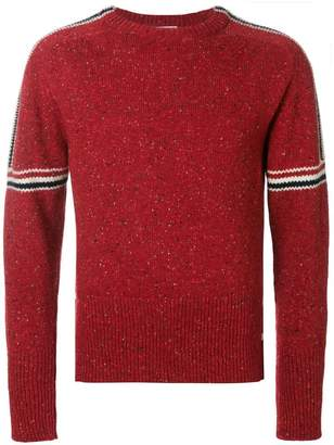 Thom Browne Intarsia Stripe Classic Mohair Tweed Crewneck Pullover
