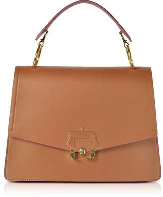Paula Cademartori Pecan Brown Leather Arianna Top Handle Satchel Bag