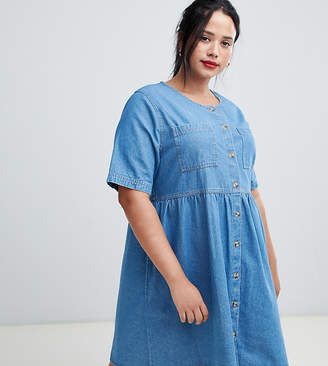 Asos DESIGN Curve denim smock dress in midwash blue