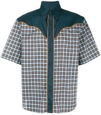 Prada panelled check shirt