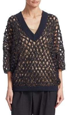 Brunello Cucinelli Pailette Open-Knit Sweater