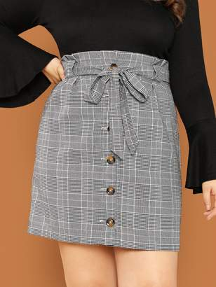 Shein Plus Button Front Plaid Skirt