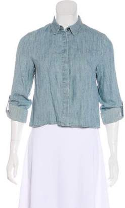 Alice + Olivia Crop Denim Button-Up Top