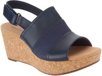 Clarks Leather Cork Wedge Adjustable Sandals - Annadel Janis