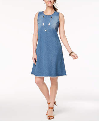 Style&Co. Style & Co Petite Frayed-Denim Swing Dress