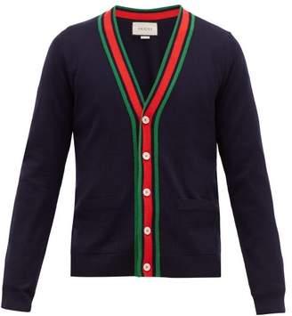 Gucci Web Striped Ribbed Knit Wool Cardigan - Mens - Navy