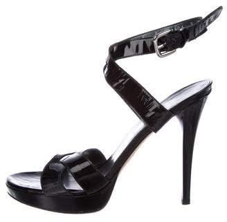 Stuart Weitzman Patent Leather Crossover Sandals