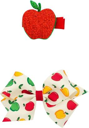 PLH Bows Small Bow & Apple Hair Clips