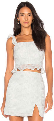 J.o.a. Ruffled Hem Crop Top