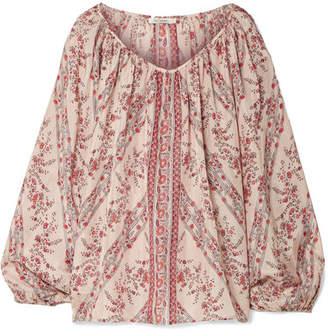 Mes Demoiselles Borat Printed Washed-silk Blouse - Antique rose