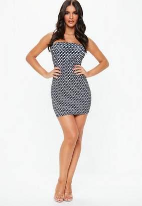 Missguided Gray Bandeau Geometric Print Mini Dress