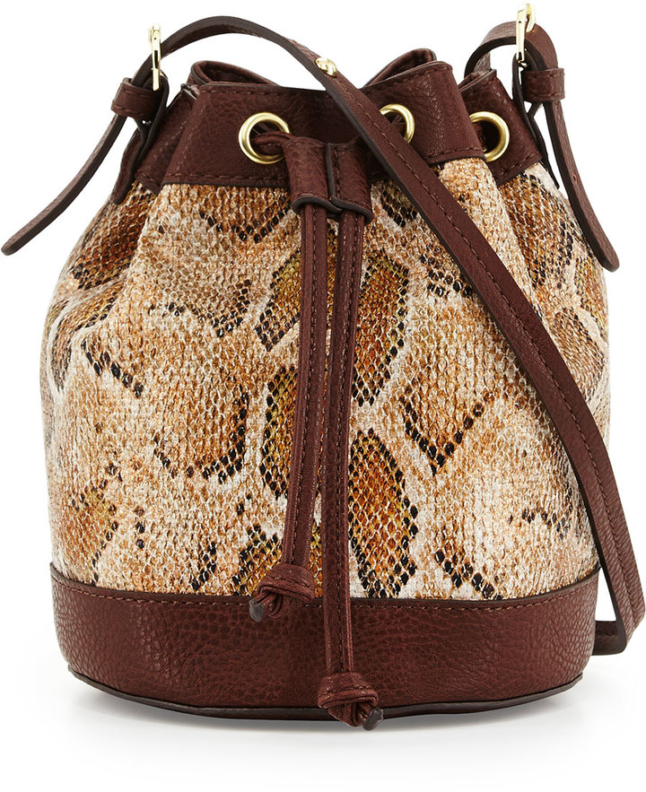 Neiman Marcus Sierra Snake-Print Bucket Bag, Tan Snake/Dark Brown