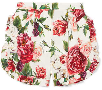 Dolce & Gabbana Ruffled Floral-print Silk-blend Shorts - Off-white