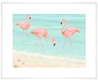Flamingos Bay Isle Home 'Flamingos By The Beach' by Tina O'Neill Finn Acrylic Painting Print