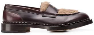 Santoni rabbit fur loafers
