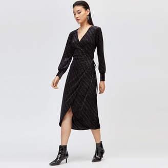 Warehouse Glitter Velvet Wrap Dress