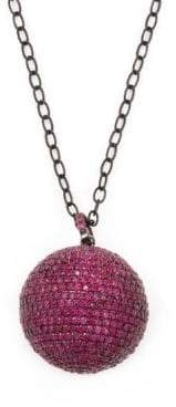 Silver & Ruby Ball Pendant Necklace