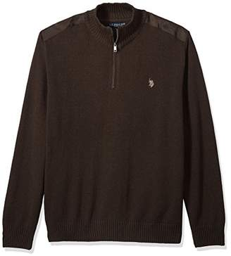 U.S. Polo Assn. Men's Big and Tall Quilted Shoulder 1/4 Neck Sweater