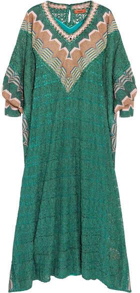 Missoni - Metallic Crochet-knit Kaftan - Green