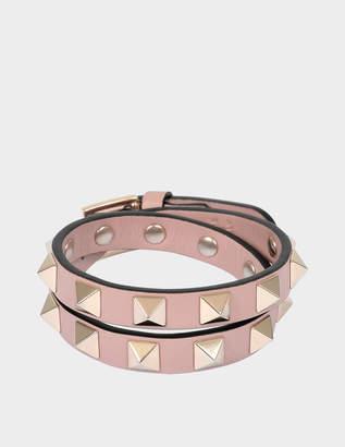 Valentino Rockstud Double Rows Bracelet or Choker Necklace in Powder Calfskin