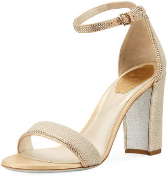 Rene Caovilla Crystal-Trim Satin Block-Heel Sandals