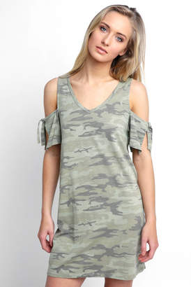 Sanctuary Cold Shoulder Camo Knit Dress