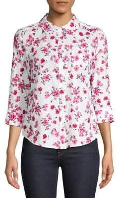 Karen Scott Petite Floral-Print Button-Down Shirt