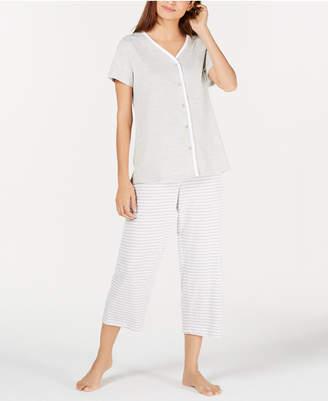 Charter Club Button-Front Cotton Knit Pajama Set