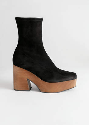 And other stories Suede Wooden Platform Boots