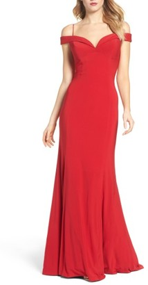 Women's Adrianna Papell Off The Shoulder Jersey Mermaid Gown $189 thestylecure.com