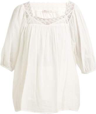 Mes Demoiselles Hamilton lace-insert cotton-voile tunic top