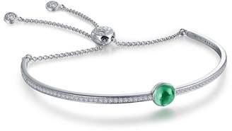 Lafonn Platinum Plated Sterling Silver Bezel Set Simulated Emerald May Birthstone Bracelet