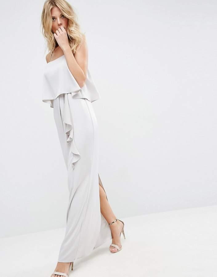 AsosASOS Crop Top Ruffle Column Maxi Dress