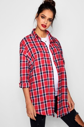 boohoo Maternity Check Shirt