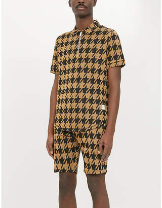 Selfridges Prevu Pelle houndstooth-print woven zip-neck polo shirt