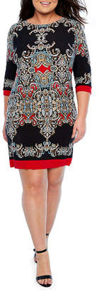 Tiana B 3/4 Sleeve Print Sheath Dress - Plus