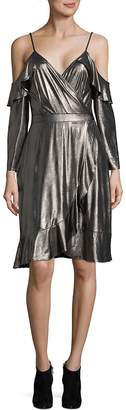 Collective Concepts Women's Ruffle Metallic Cold Shoulder Dress