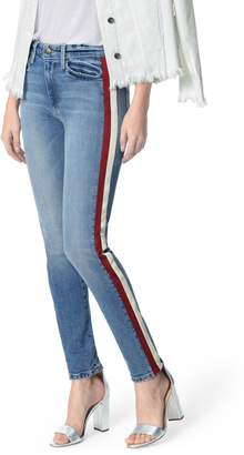 Joe's Jeans Charlie Lambskin Leather Stripe High Waist Ankle Skinny Jeans