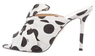 Charlotte Olympia Peep-Toe Canvas Mules
