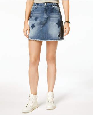 Tinseltown Juniors' Embroidered Raw-Edged Denim Skirt