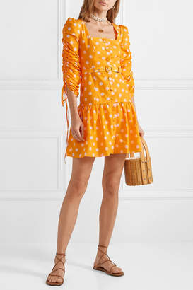 Nicholas Belted Ruched Polka-dot Cotton And Silk-blend Voile Mini Dress - Yellow