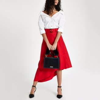 River Island Womens Red asymmetric midi belted skirt