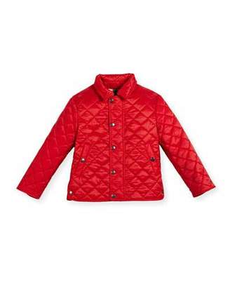 Burberry Luke Quilted Snap-Front Jacket, Bright Cherry Red, Size 4-14 $250 thestylecure.com