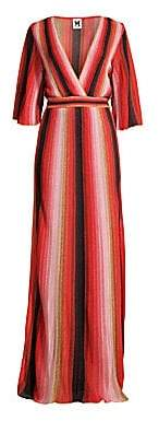 M Missoni Women's Textured Stripes Plunging Maxi Dress