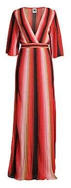 M Missoni Women's Textured Stripes Plunging Maxi Dress
